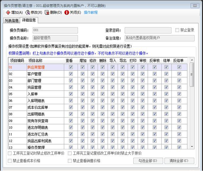 企管王ERP系统操作员管理操作员权限设置功能